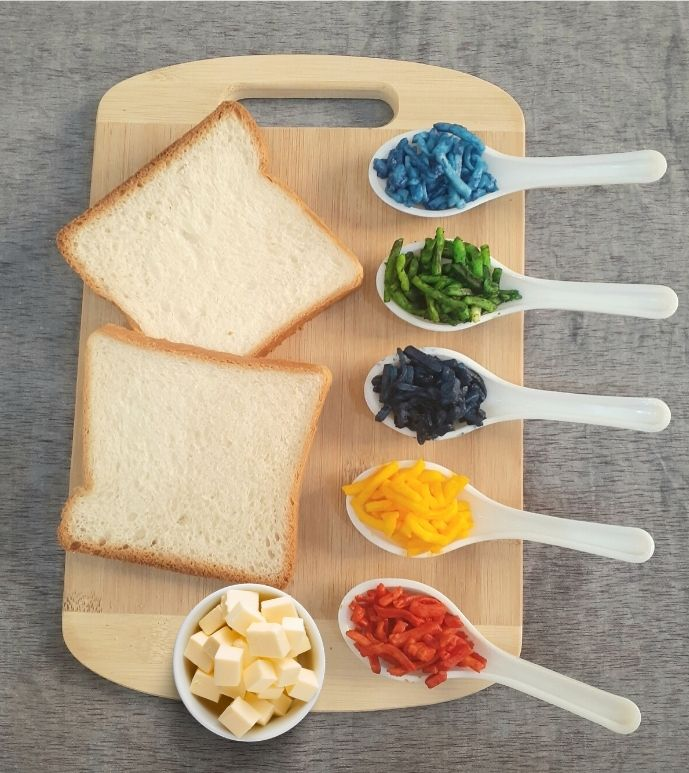 Rainbow grilled cheese ingredients