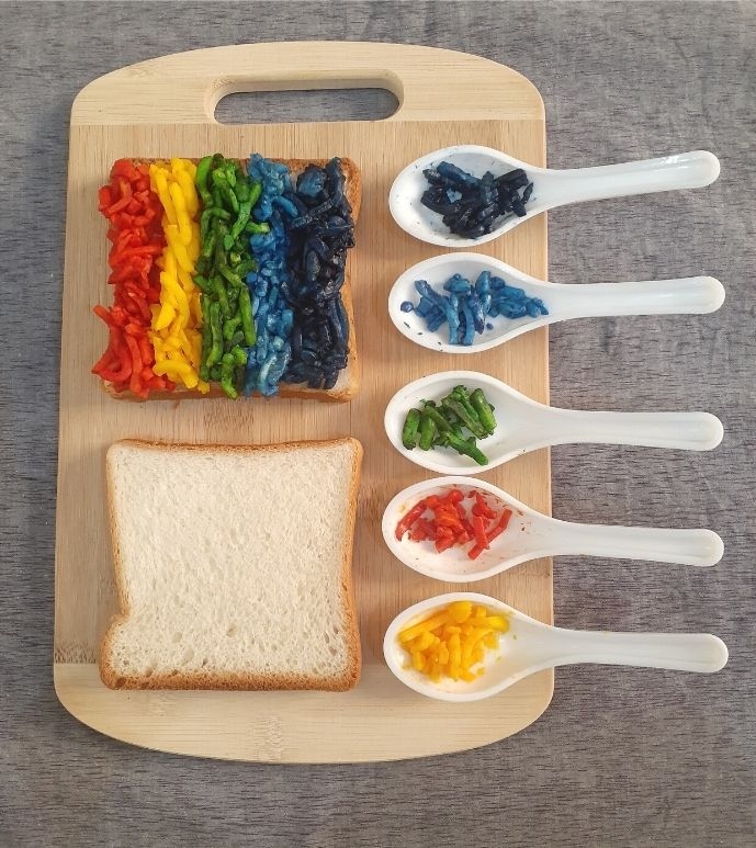 coloured cheese (rainbow grilled cheese sandwich)