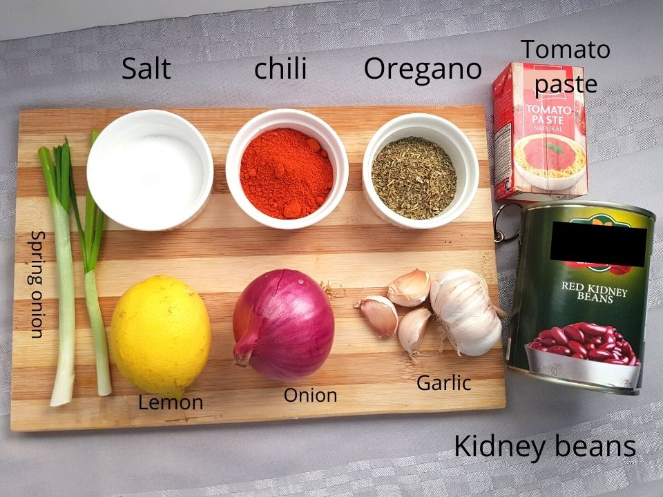 Ingredients for kidney beans
